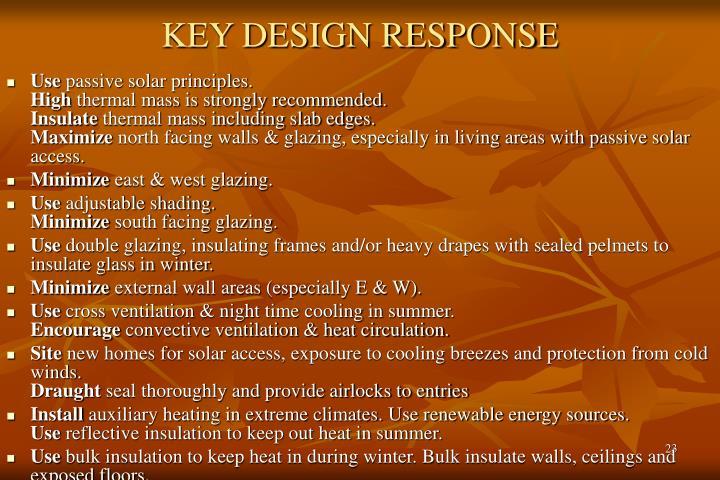 KEY DESIGN RESPONSE