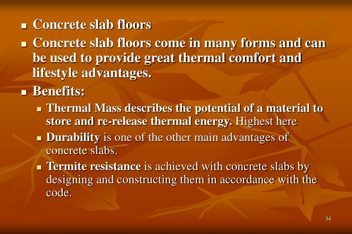 Concrete slab floors