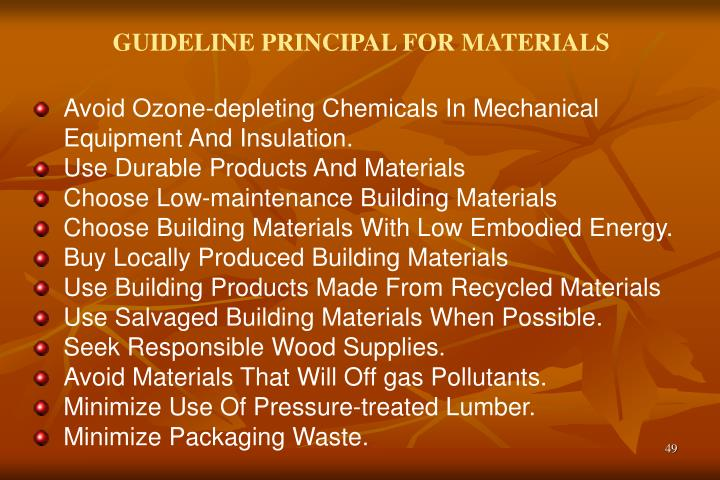 GUIDELINE PRINCIPAL FOR MATERIALS