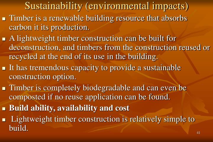 Sustainability (environmental impacts)