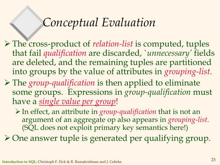 Conceptual Evaluation
