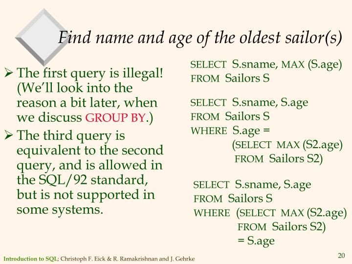 Find name and age of the oldest sailor(s)
