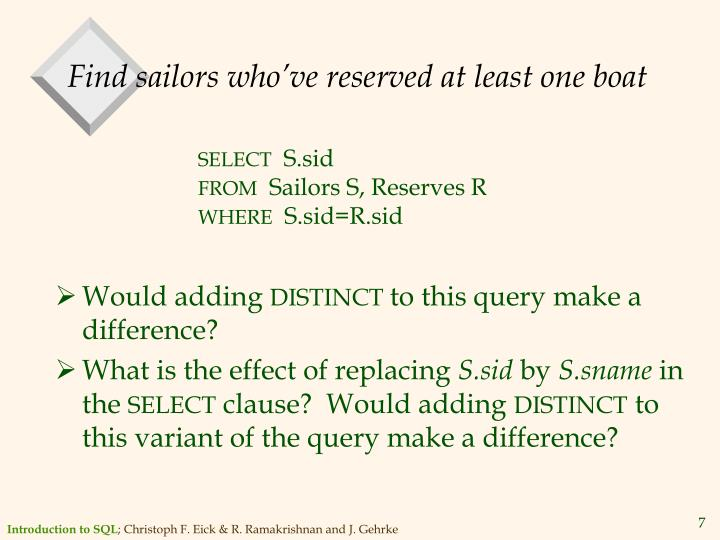Find sailors who've reserved at least one boat