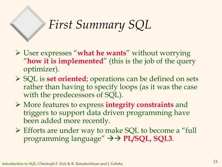 First Summary SQL