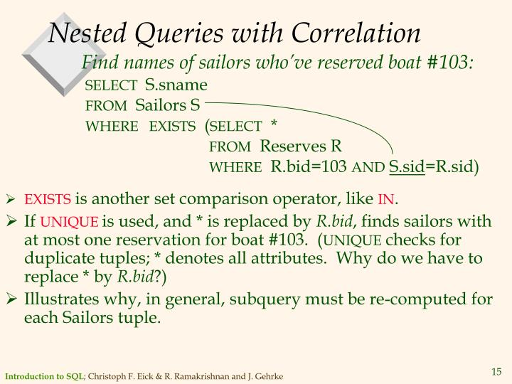 Nested Queries with Correlation