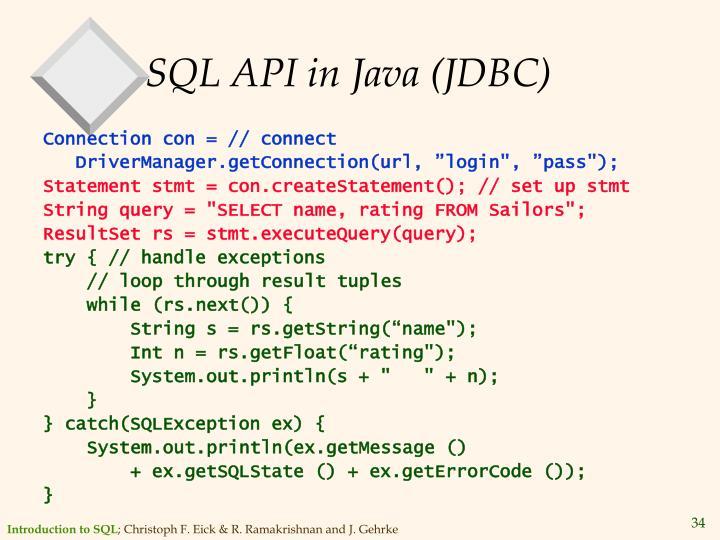 SQL API in Java (JDBC)