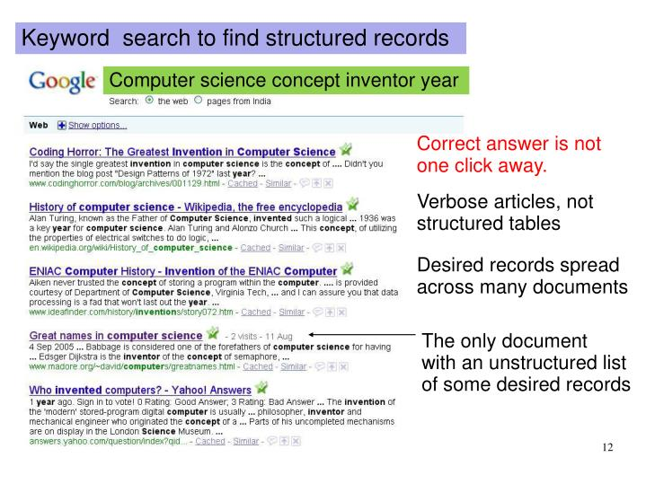 Keyword  search to find structured records