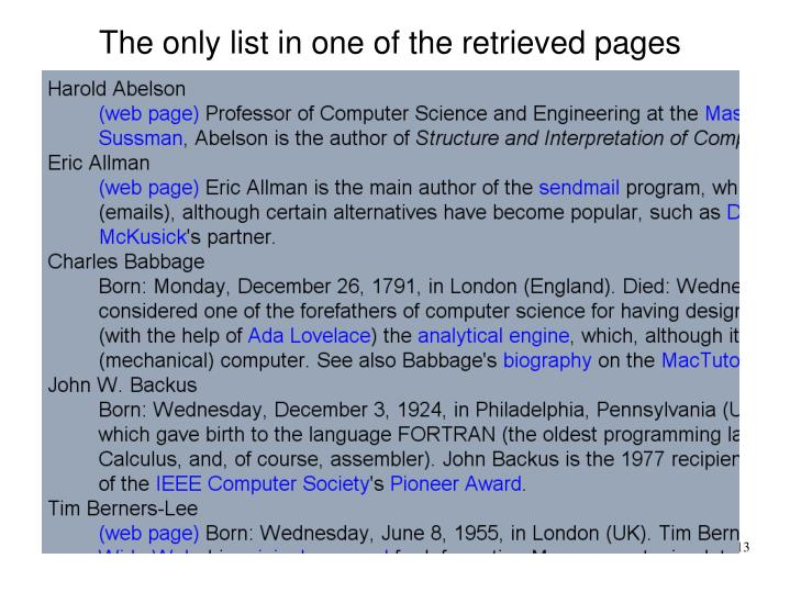 The only list in one of the retrieved pages