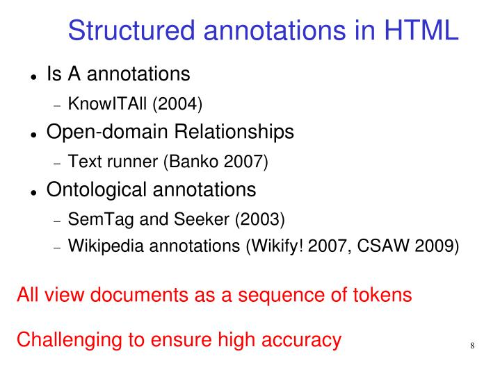 Structured annotations in HTML