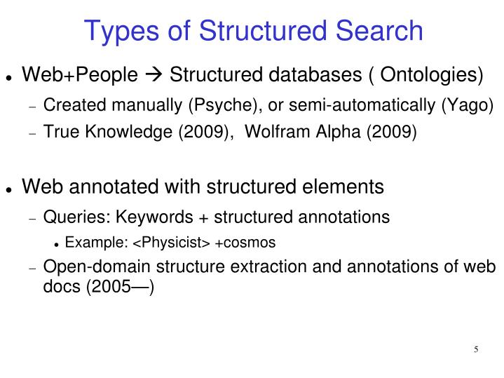 Types of Structured Search