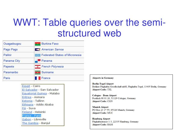 WWT: Table queries over the semi-structured web