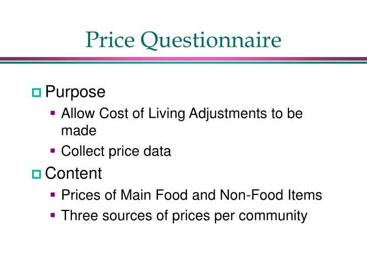 Price Questionnaire