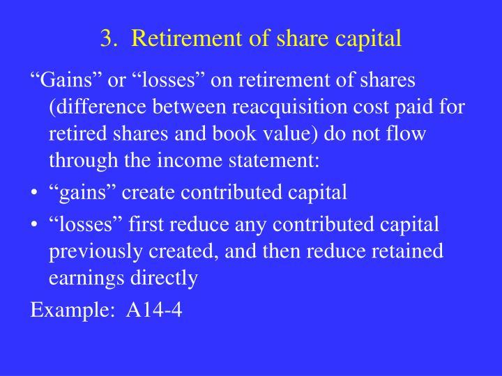 3.  Retirement of share capital
