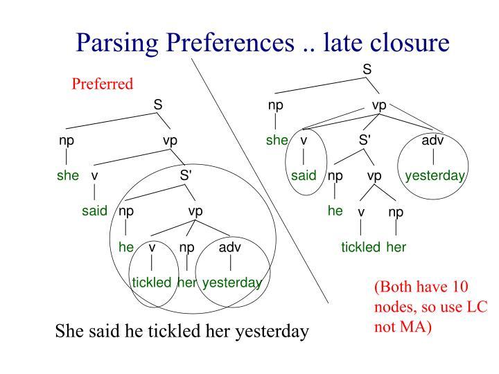 Parsing Preferences .. late closure
