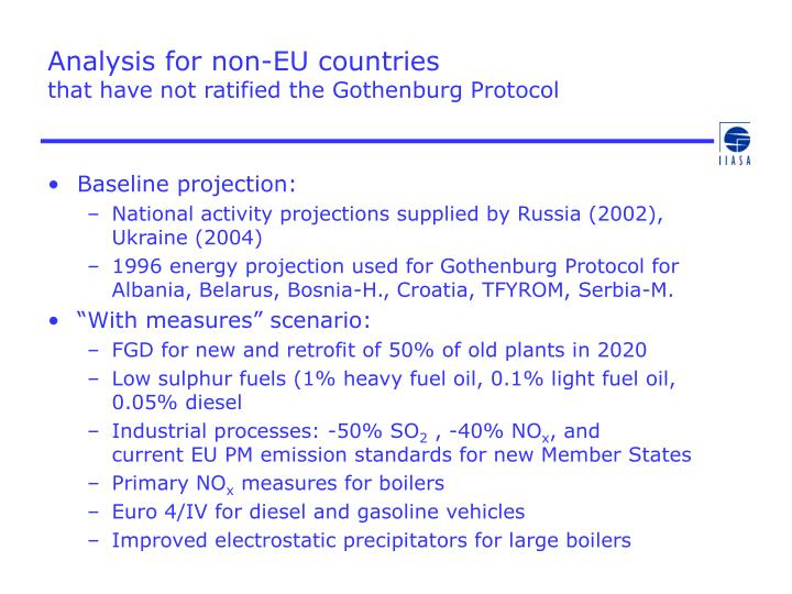 Analysis for non eu countries that have not ratified the gothenburg protocol