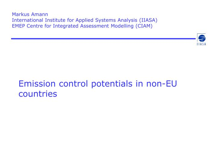 Emission control potentials in non eu countries
