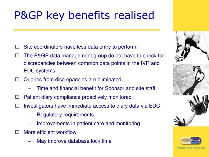 P&GP key benefits realised