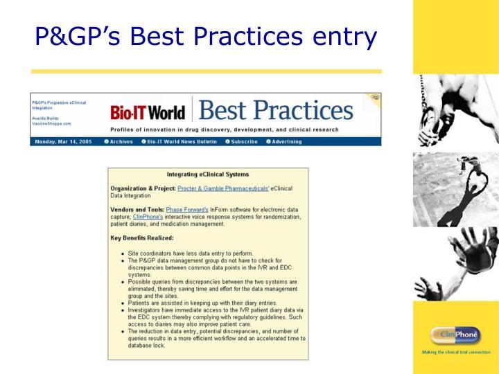 P&GP's Best Practices entry