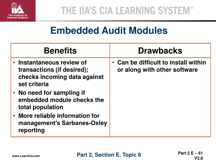 Embedded Audit Modules