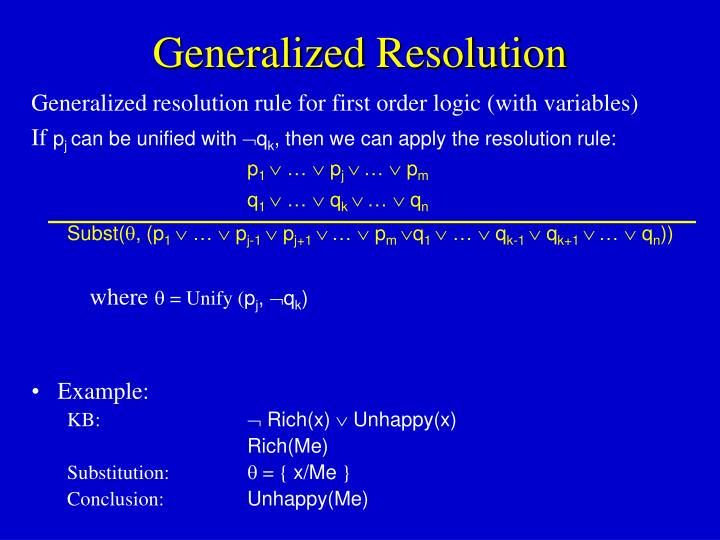 Generalized Resolution