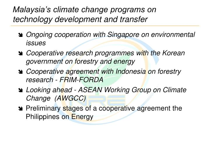 Malaysia's climate change programs on technology development and transfer