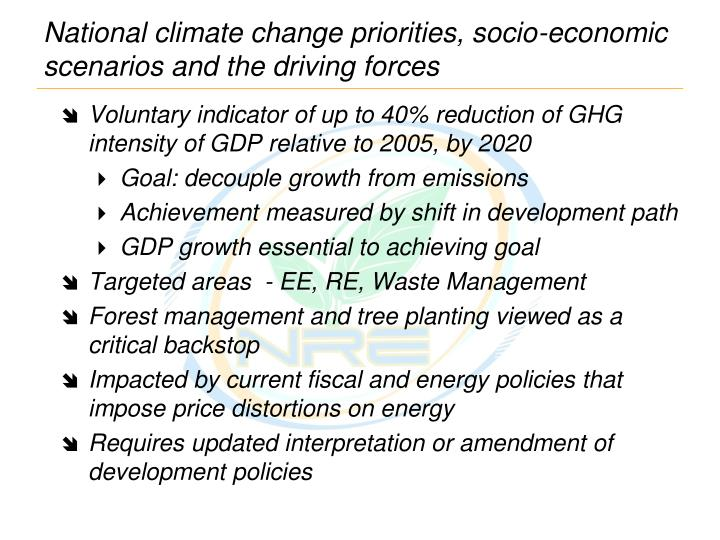 National climate change priorities, socio-economic scenarios and the driving forces