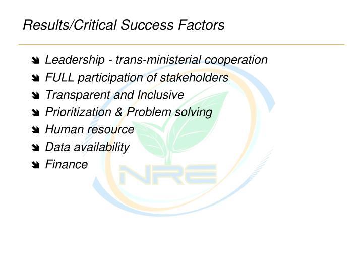 Results/Critical Success Factors