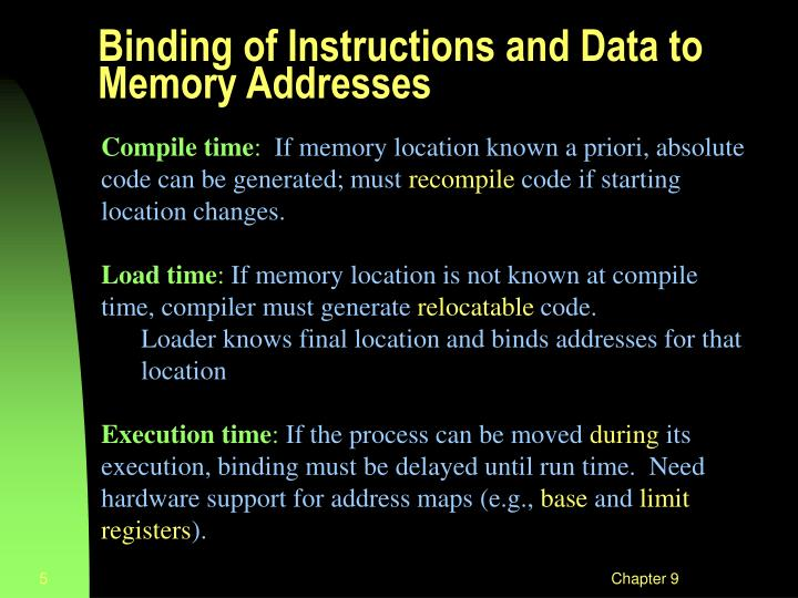 Binding of Instructions and Data to Memory Addresses