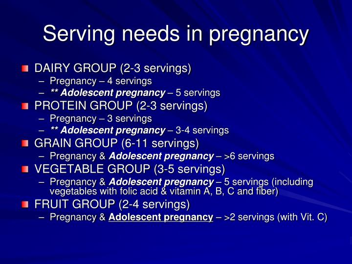 Serving needs in pregnancy