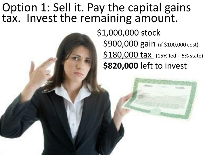 Option 1: Sell it. Pay the capital gains tax.  Invest the remaining amount.