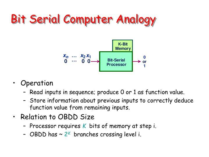Bit Serial Computer Analogy