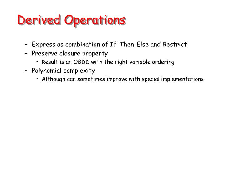 Derived Operations