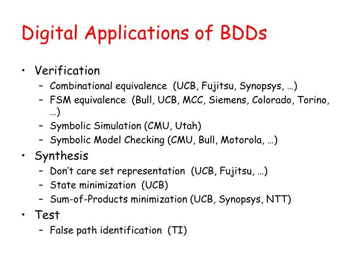 Digital Applications of BDDs