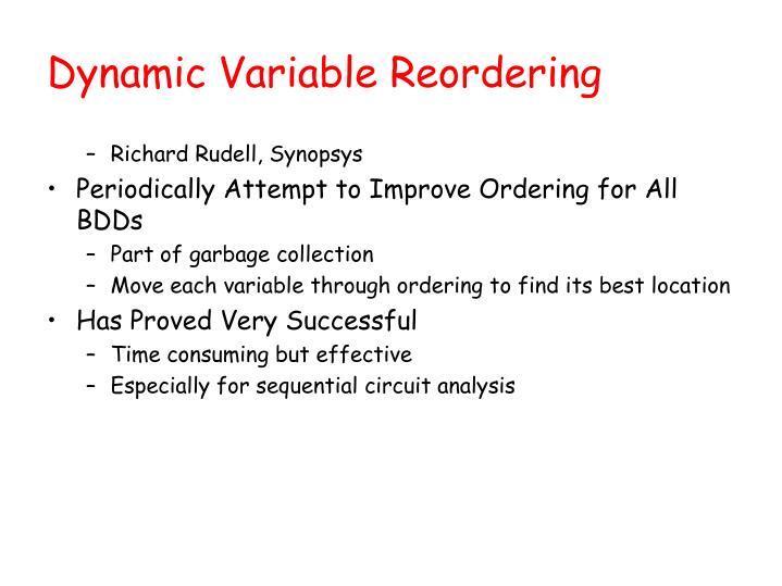 Dynamic Variable Reordering