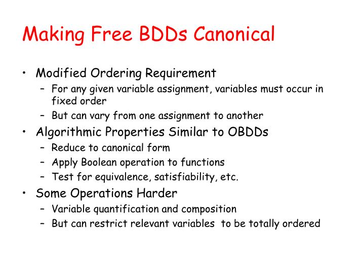 Making Free BDDs Canonical