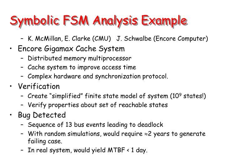 Symbolic FSM Analysis Example