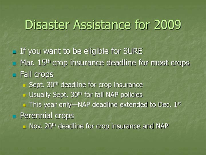 Disaster Assistance for 2009