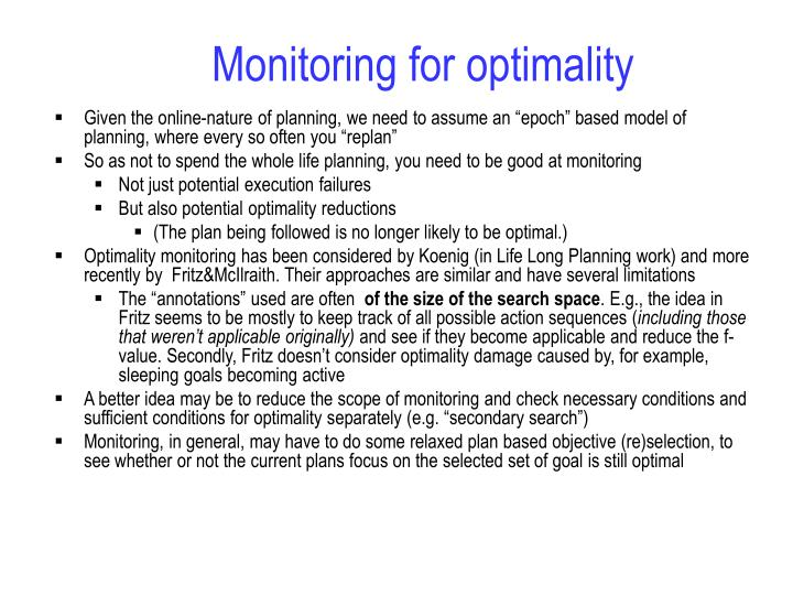 Monitoring for optimality