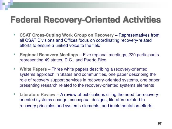Federal Recovery-Oriented Activities