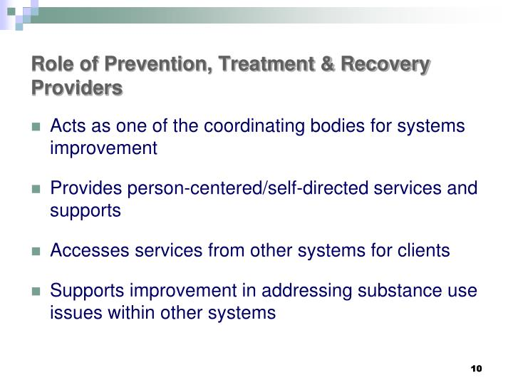 Role of Prevention, Treatment & Recovery Providers