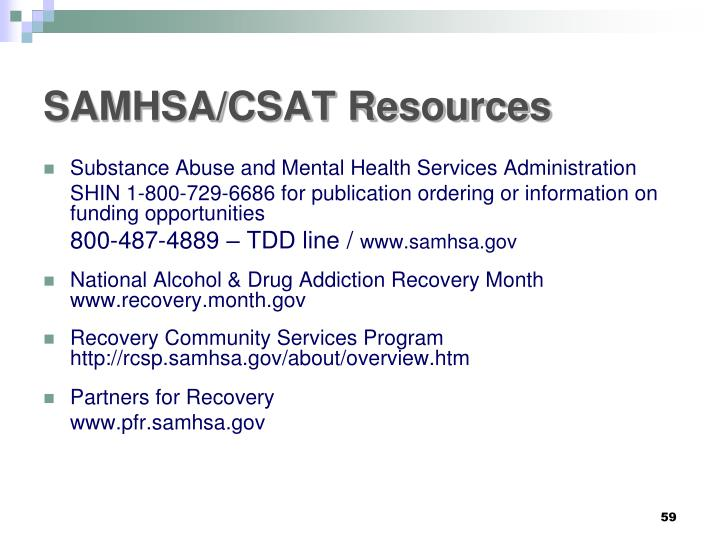 SAMHSA/CSAT Resources