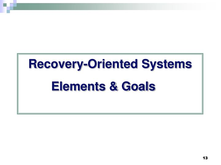 Recovery-Oriented Systems Elements & Goals