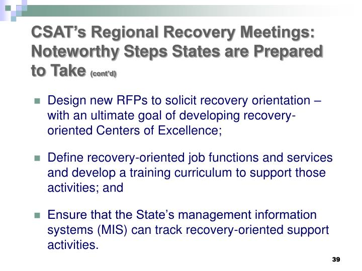 CSAT's Regional Recovery Meetings:  Noteworthy Steps States are Prepared to Take