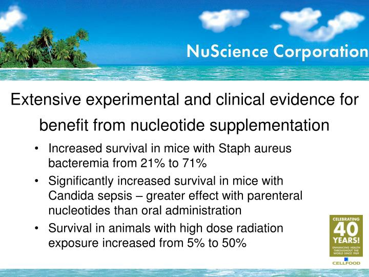 Extensive experimental and clinical evidence for benefit from nucleotide supplementation