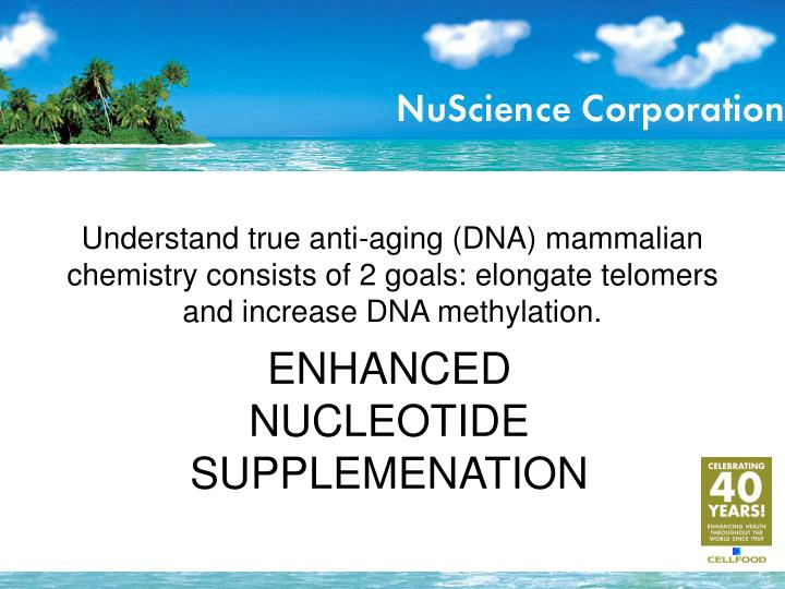 Understand true anti-aging (DNA) mammalian chemistry consists of 2 goals: elongate telomers and increase DNA methylation.