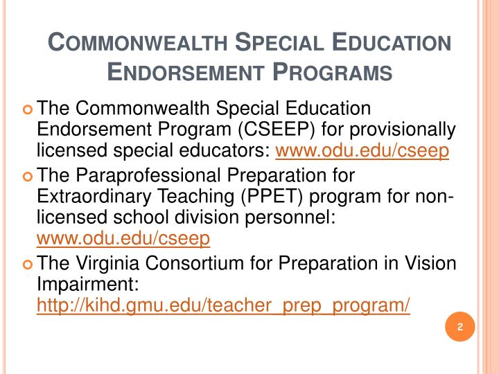 Commonwealth special education endorsement programs