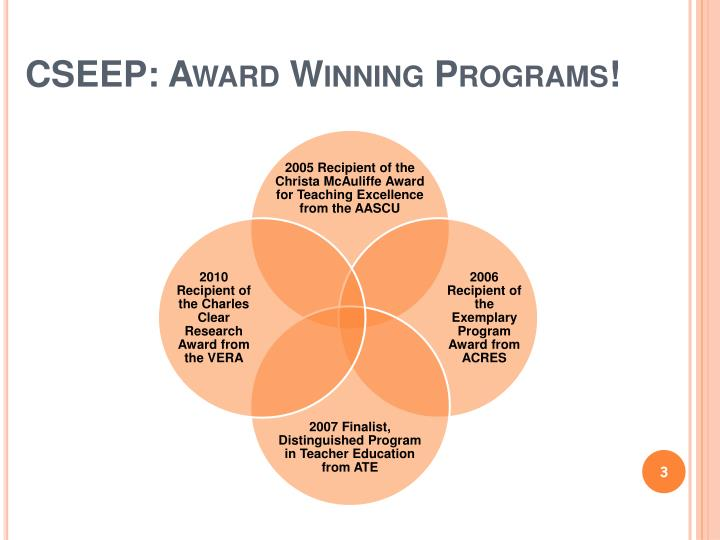 Cseep award winning programs