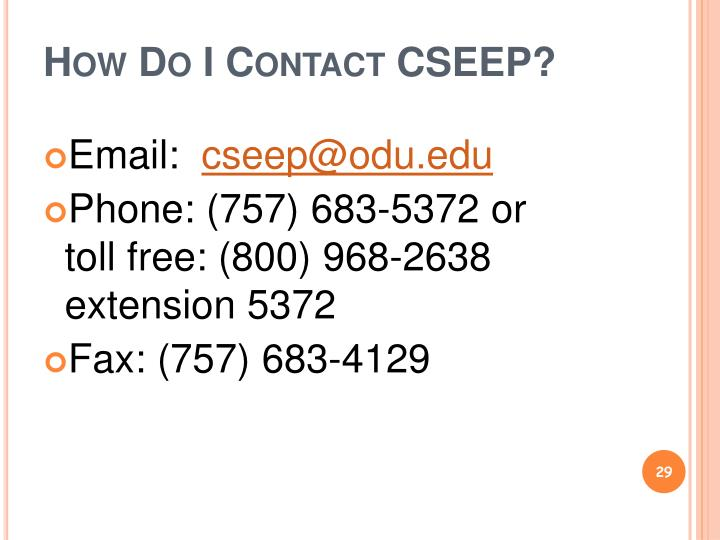 How Do I Contact CSEEP?