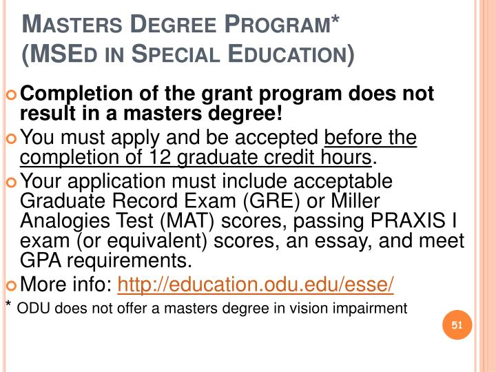 Masters Degree Program*