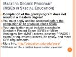 masters degree program msed in special education